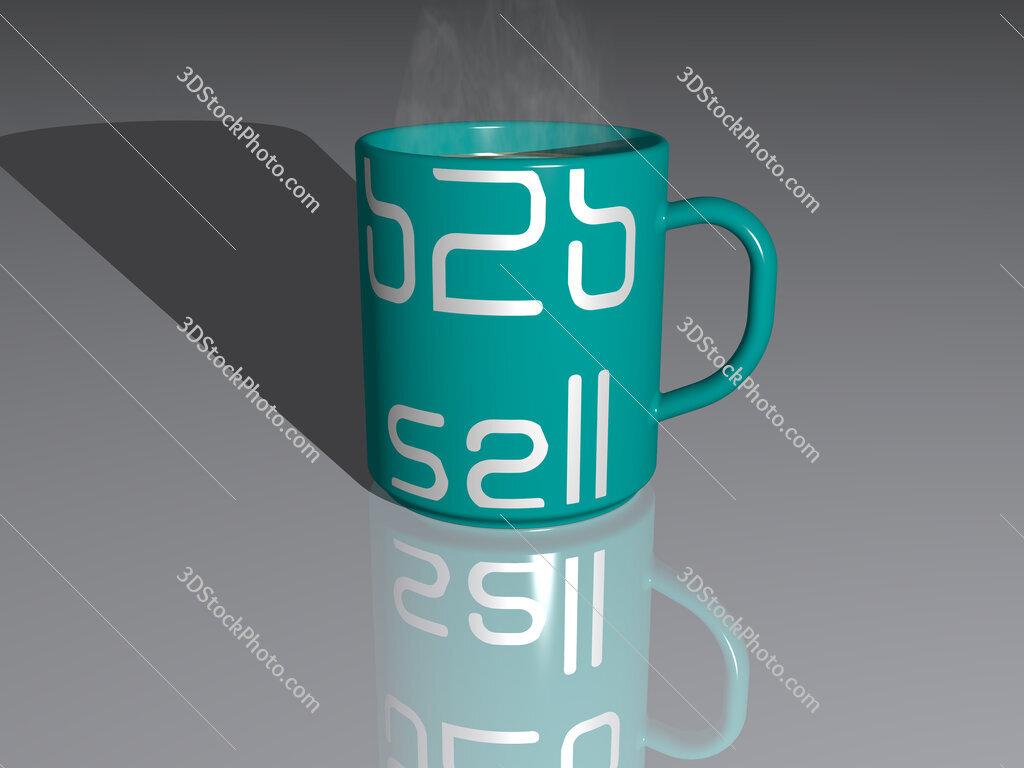 b2b sell text on a coffee mug