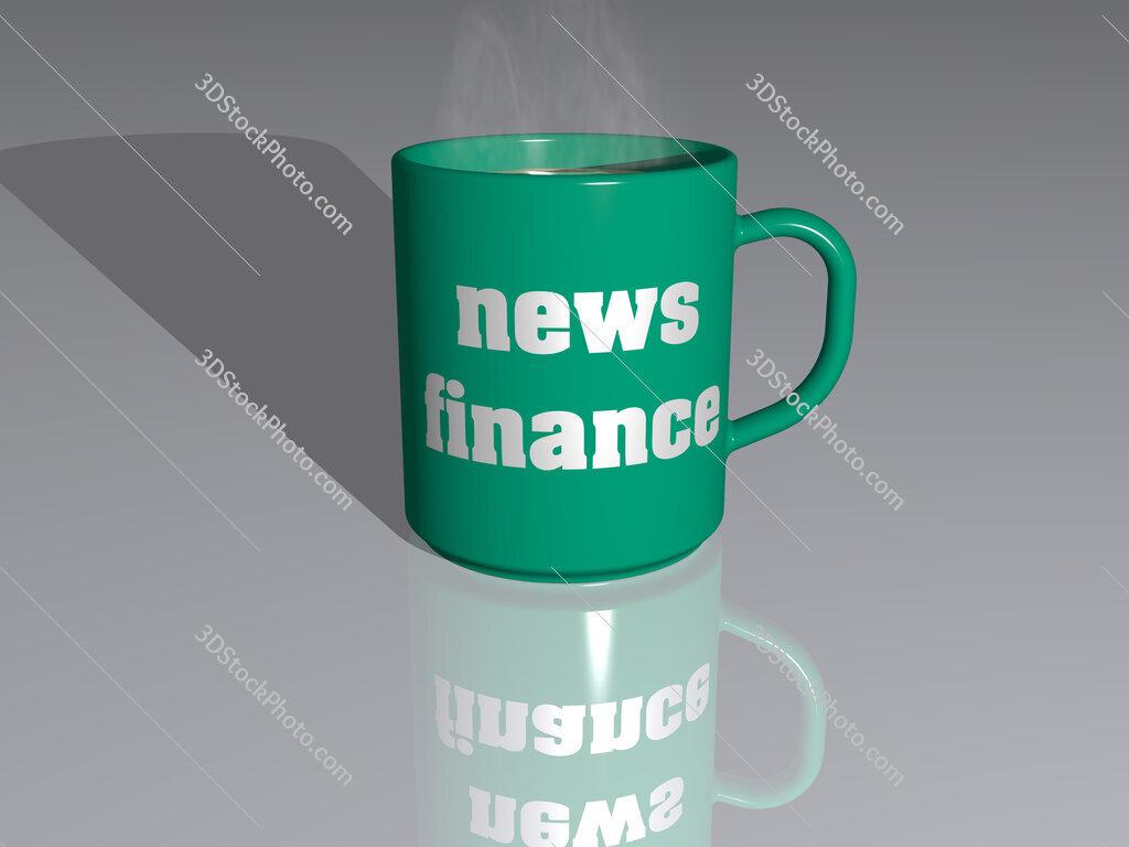 news finance text on a coffee mug