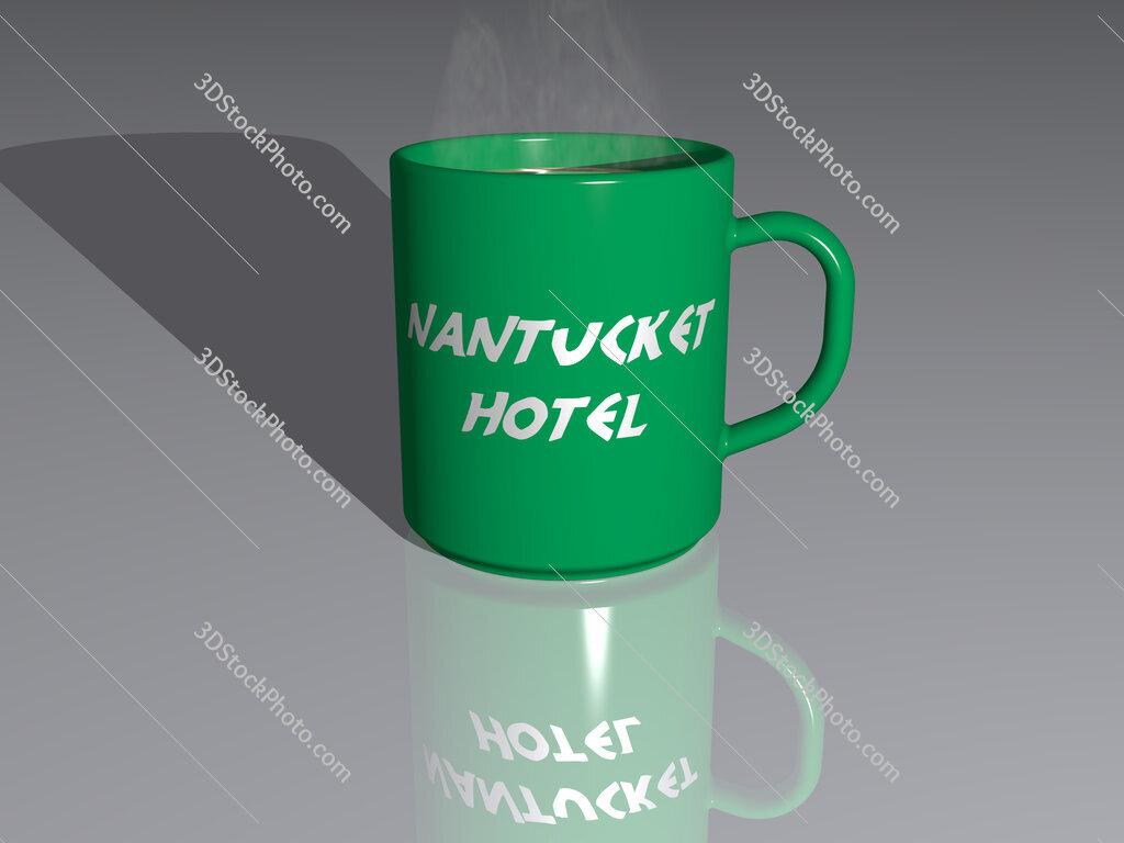 nantucket hotel text on a coffee mug