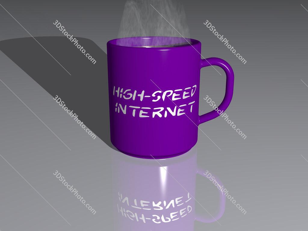high-speed internet text on a coffee mug