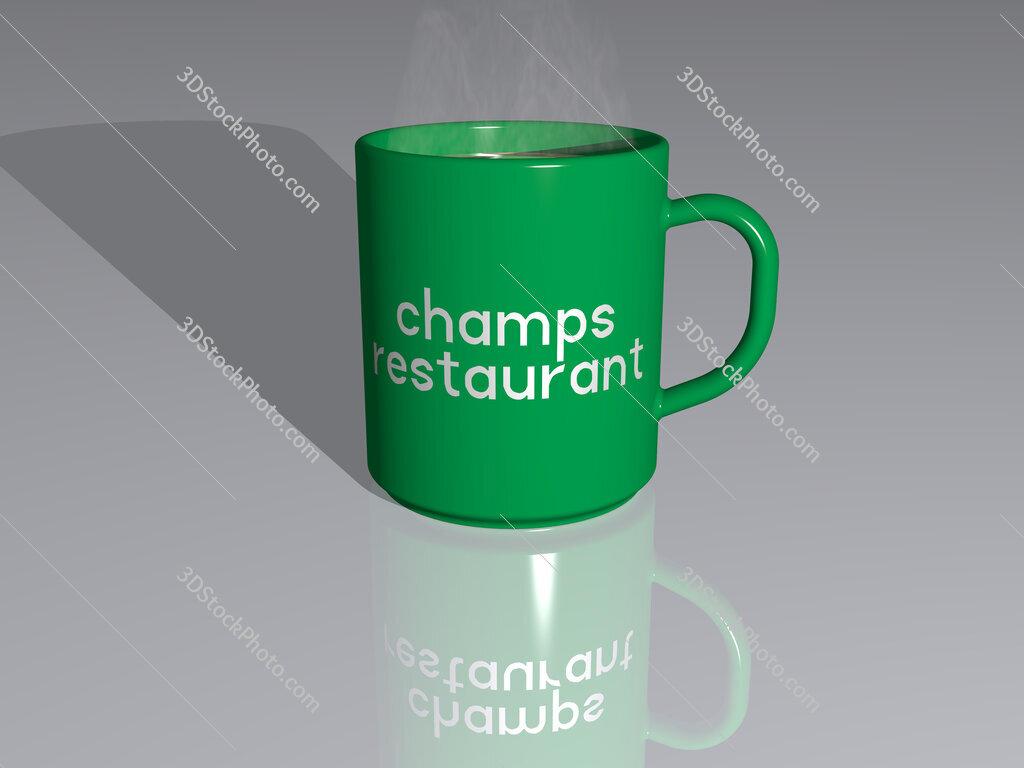 champs restaurant text on a coffee mug