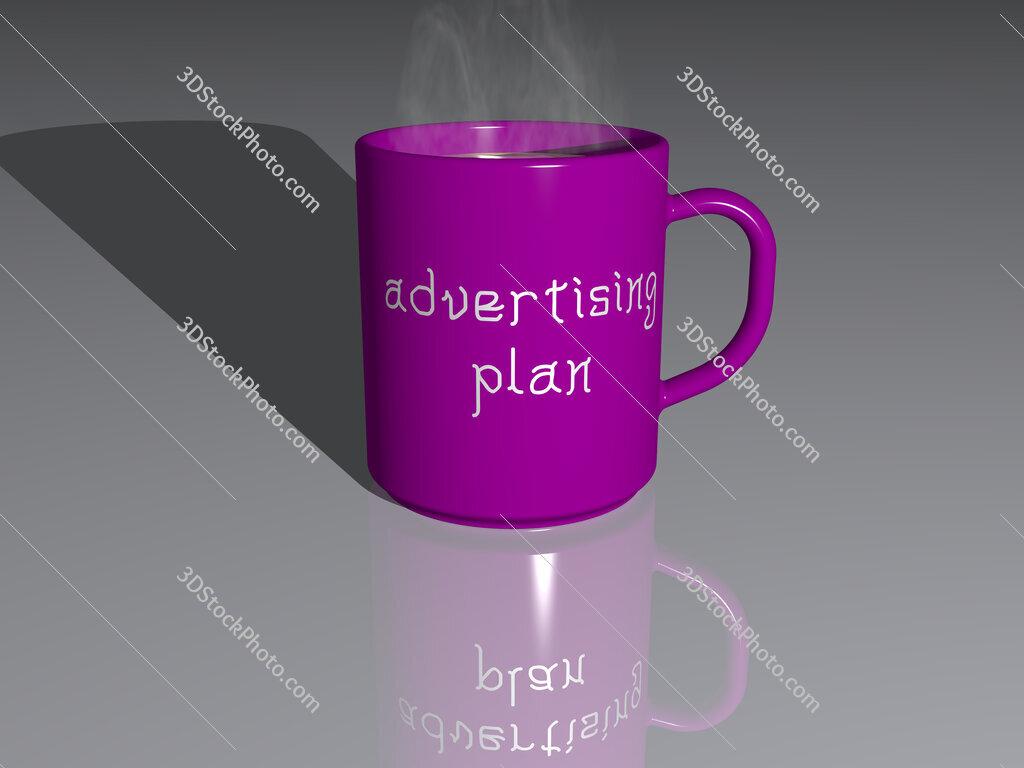 advertising plan text on a coffee mug