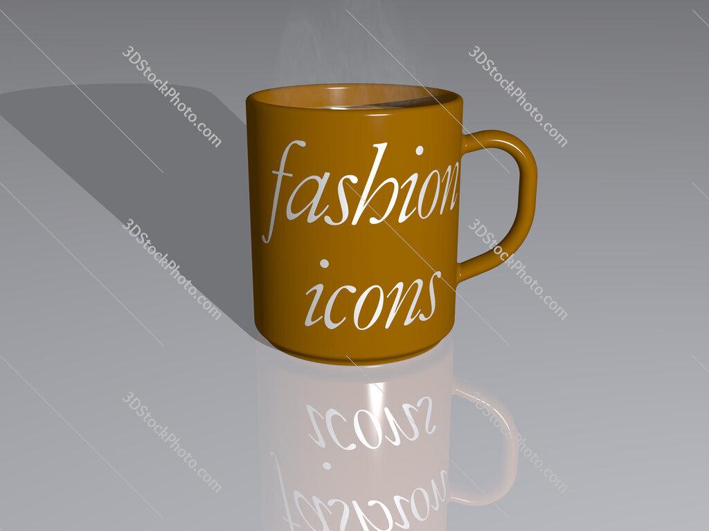 fashion icons text on a coffee mug