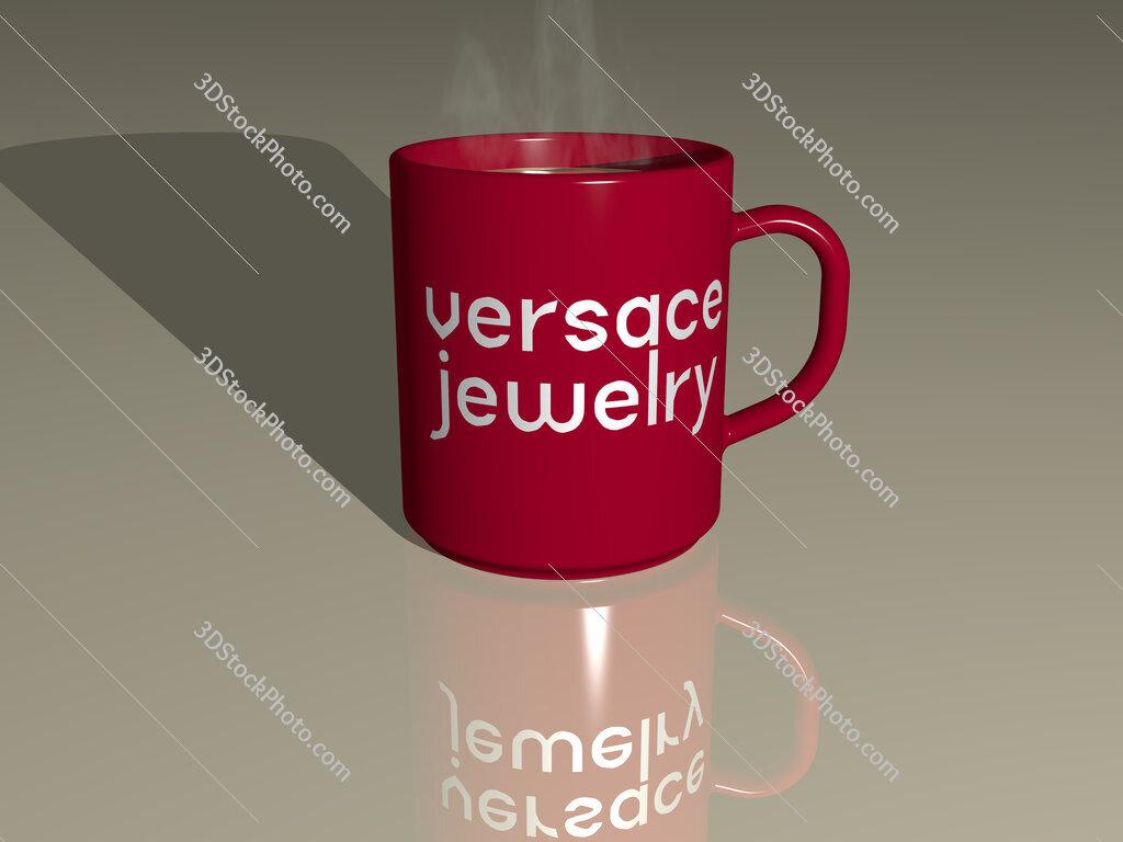versace jewelry text on a coffee mug
