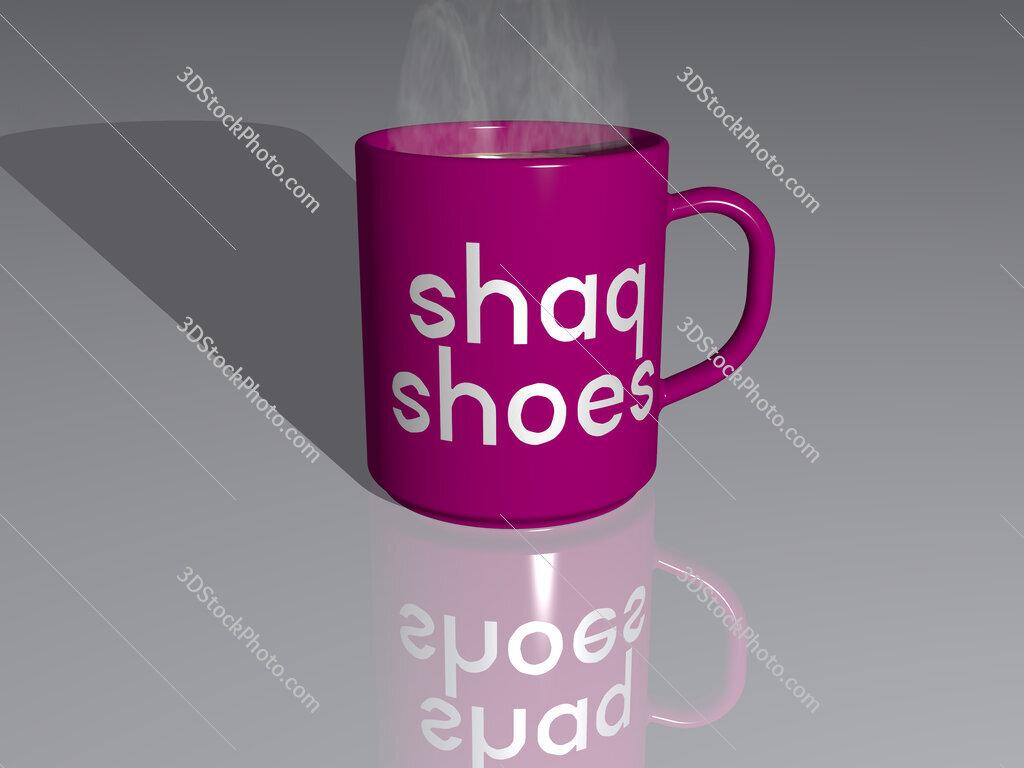 shaq shoes text on a coffee mug