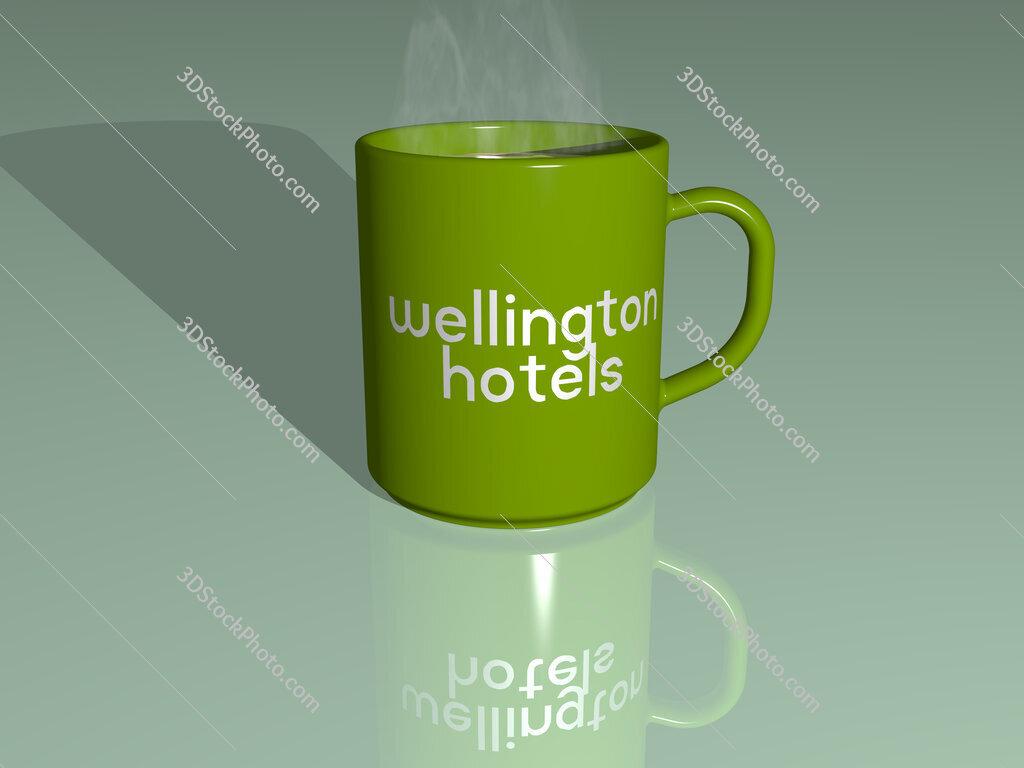 wellington hotels text on a coffee mug