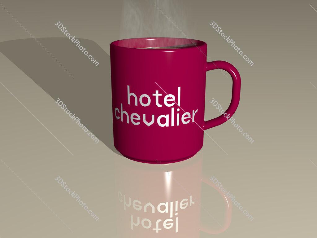 hotel chevalier text on a coffee mug