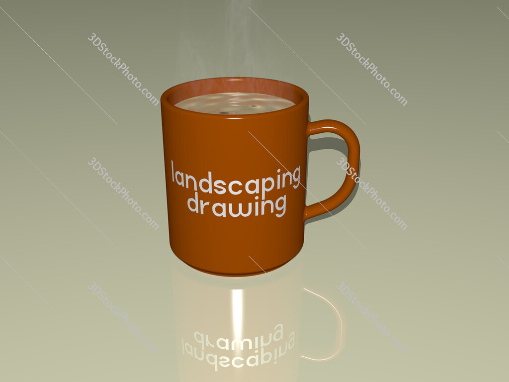 landscaping drawing text on a coffee mug