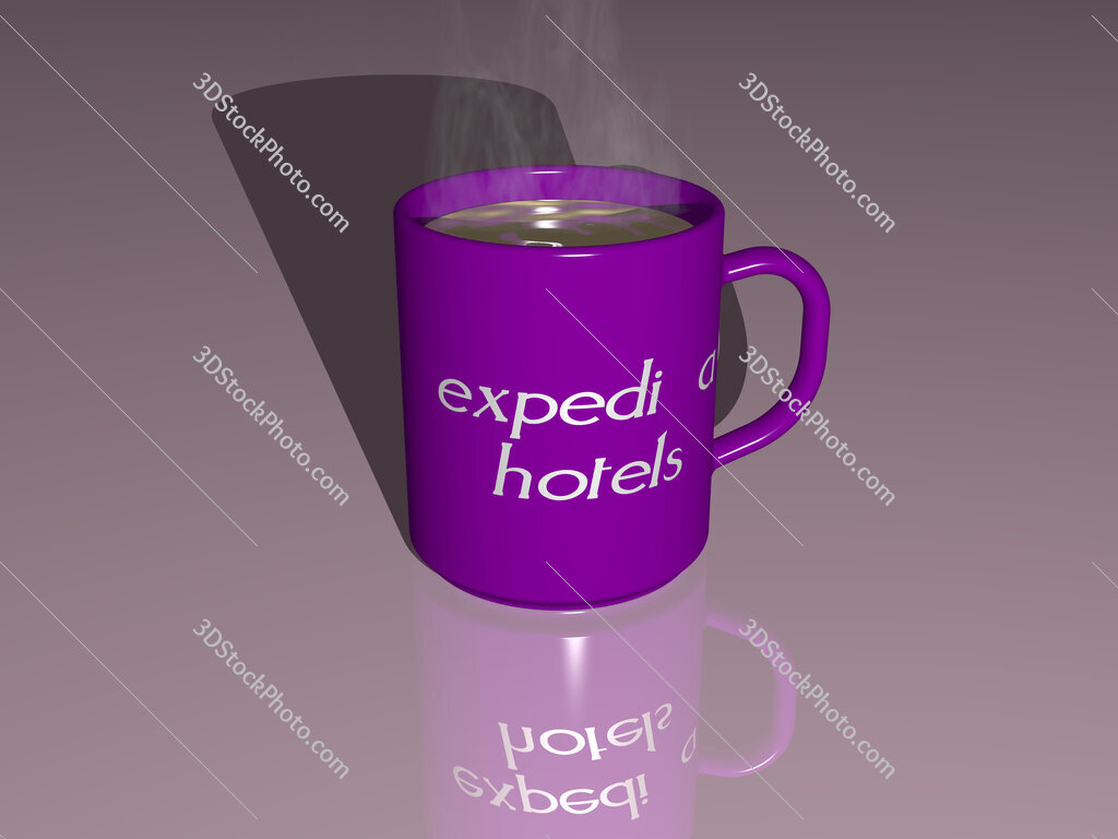 expedia hotels text on a coffee mug
