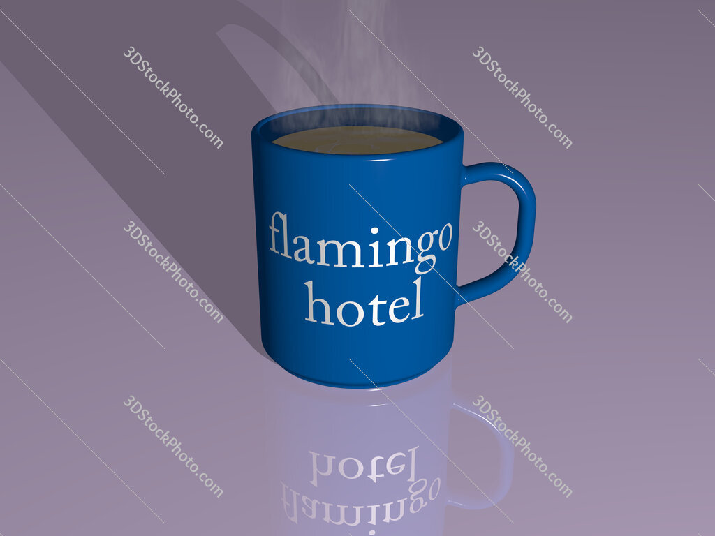 flamingo hotel text on a coffee mug