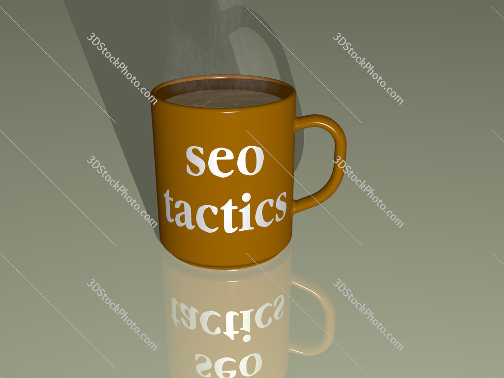 seo tactics text on a coffee mug