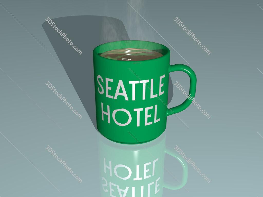 seattle hotel text on a coffee mug