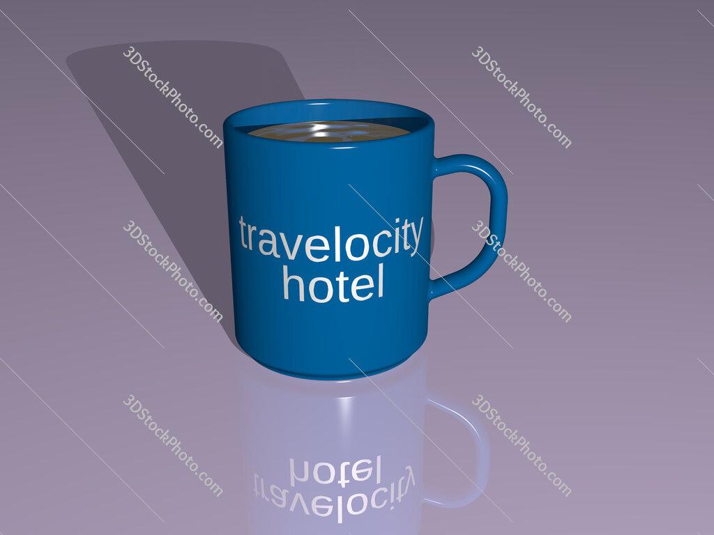 travelocity hotel text on a coffee mug