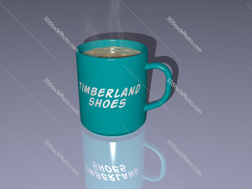 timberland shoes text on a coffee mug