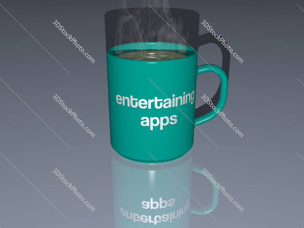 entertaining apps text on a coffee mug