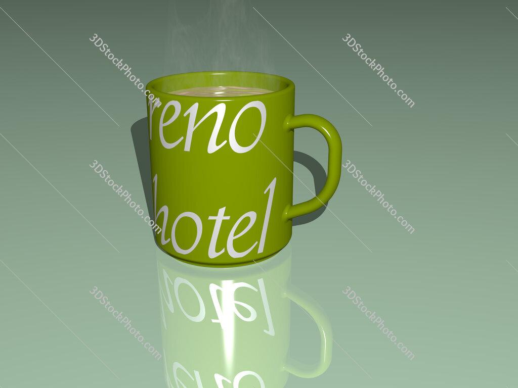 reno hotel text on a coffee mug