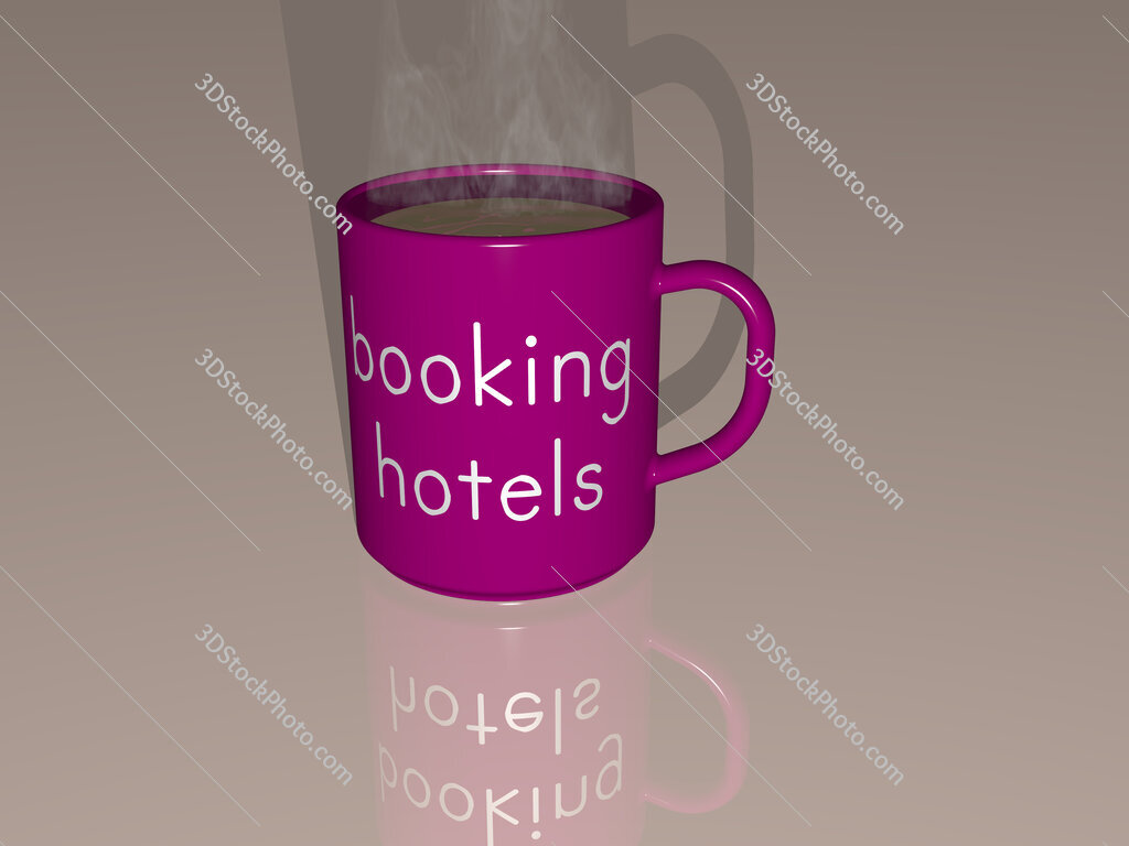 booking hotels text on a coffee mug