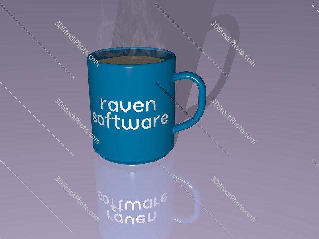 raven software text on a coffee mug