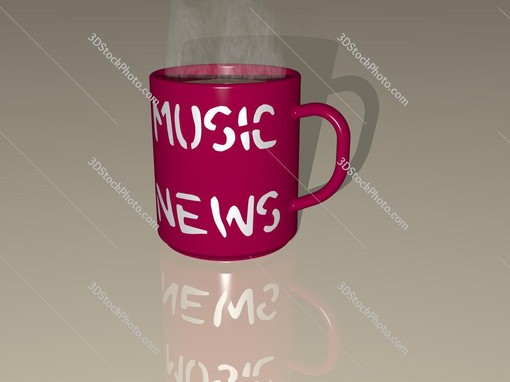 music news text on a coffee mug