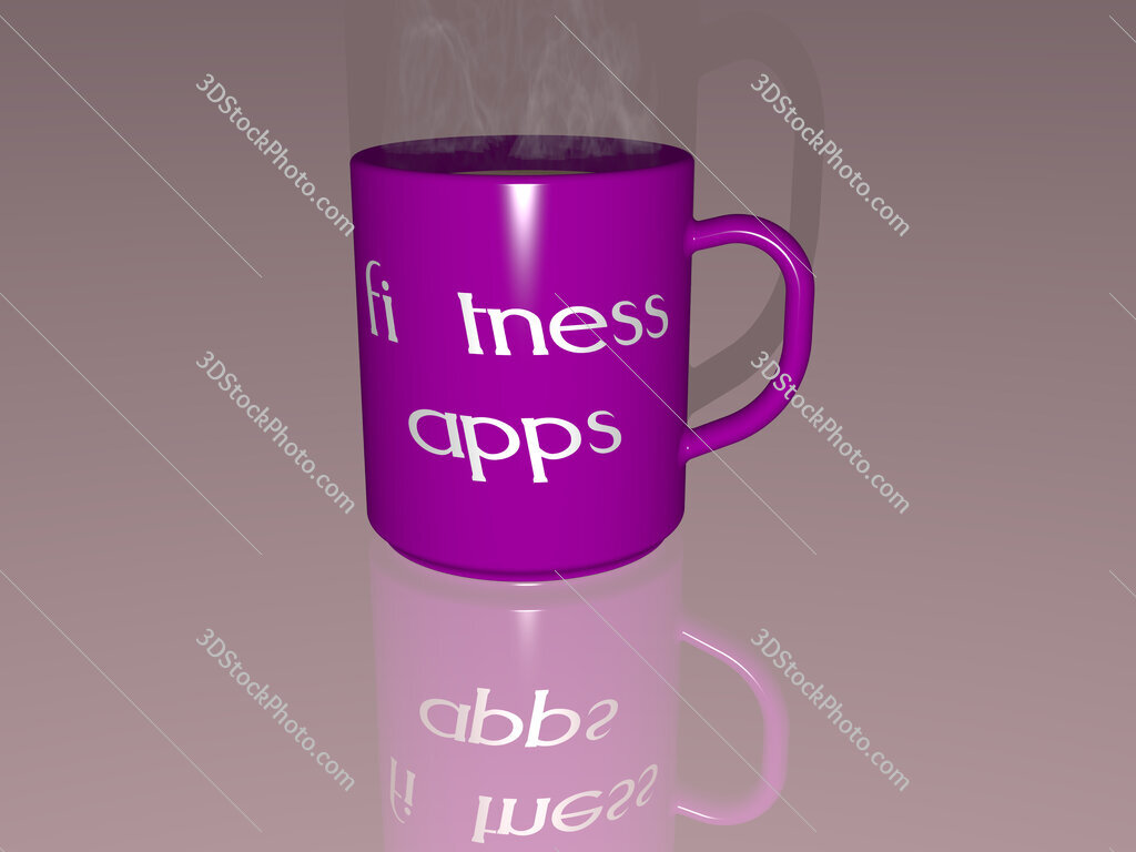 fitness apps text on a coffee mug