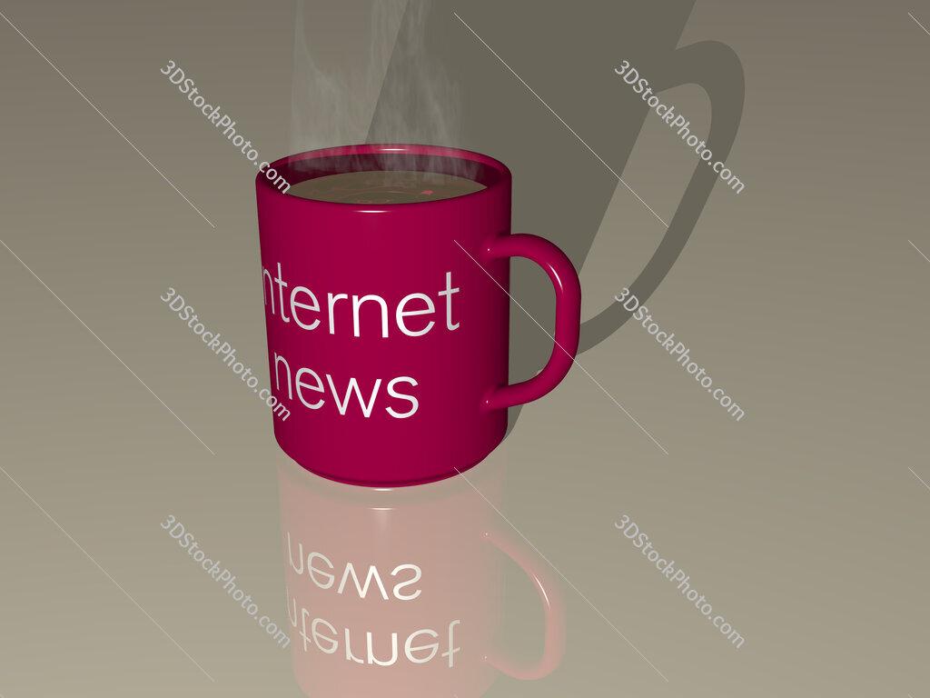 internet news text on a coffee mug