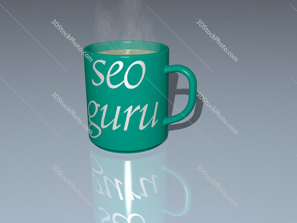 seo guru text on a coffee mug
