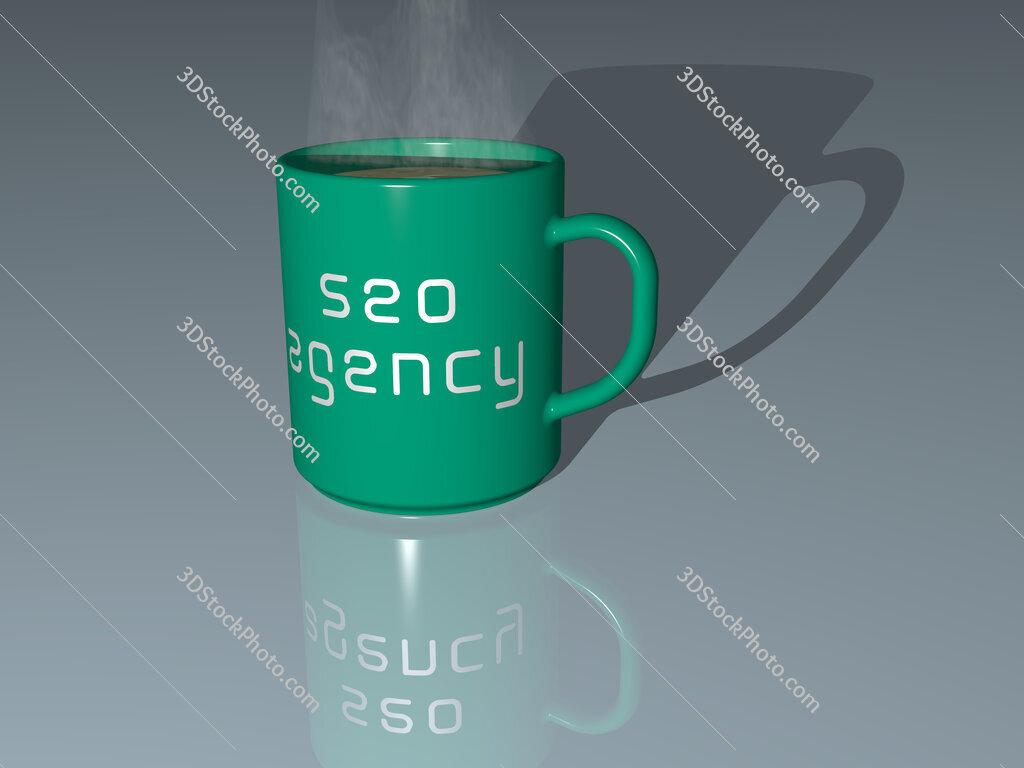 seo agency text on a coffee mug