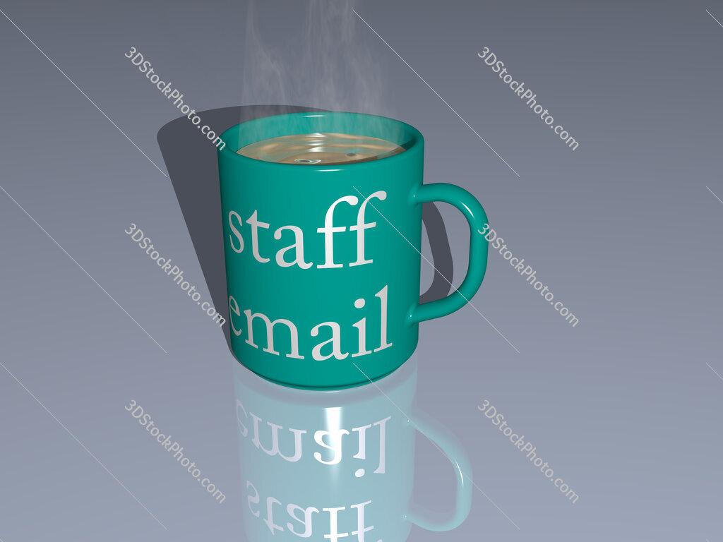staff email text on a coffee mug