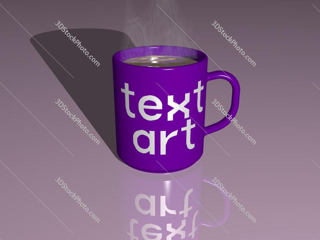 text art text on a coffee mug