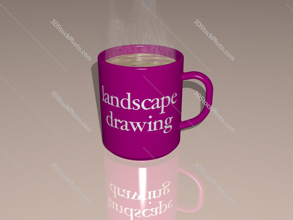landscape drawing text on a coffee mug