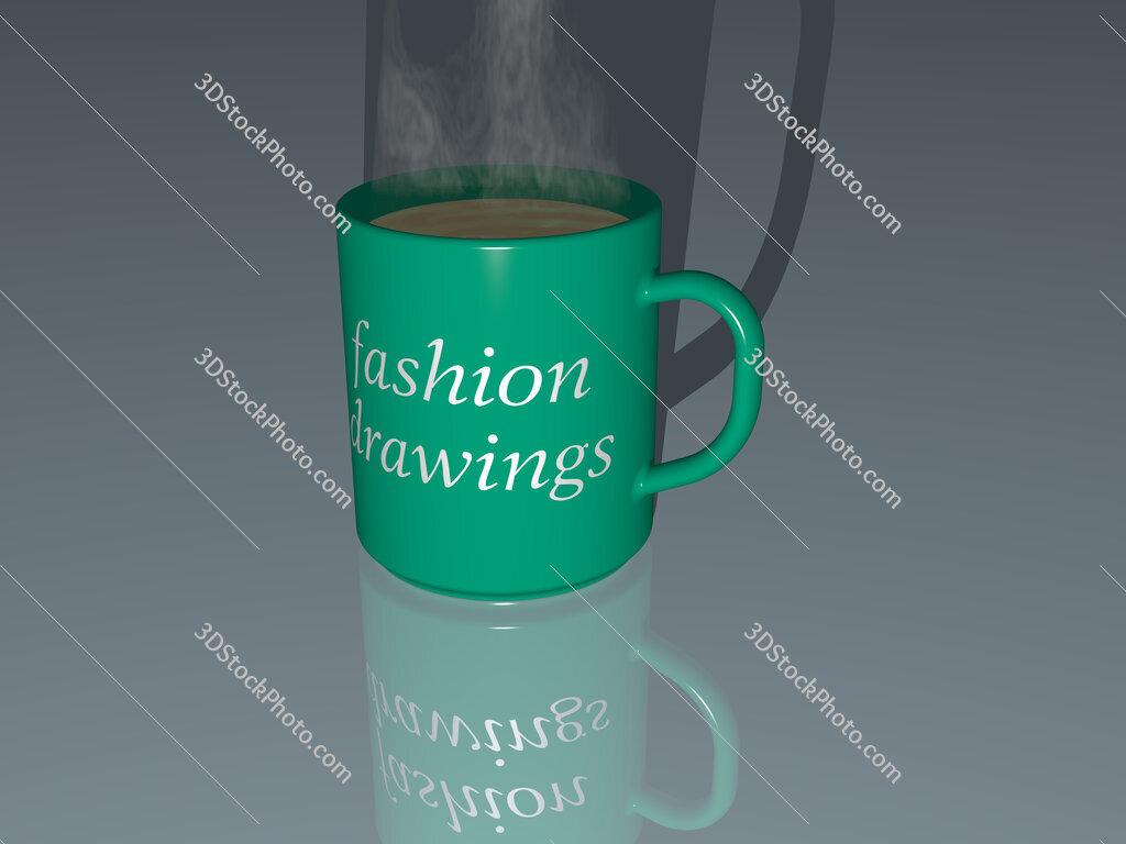 fashion drawings text on a coffee mug