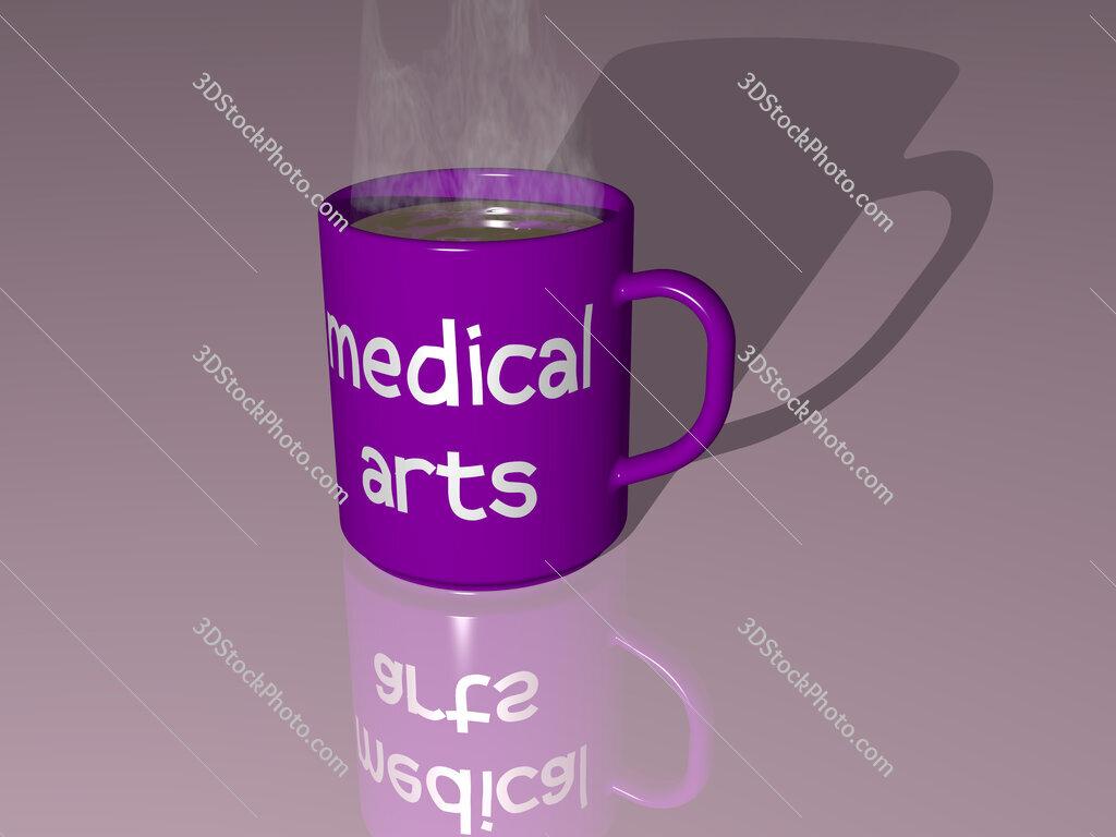medical arts text on a coffee mug