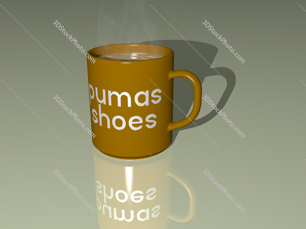 pumas shoes text on a coffee mug