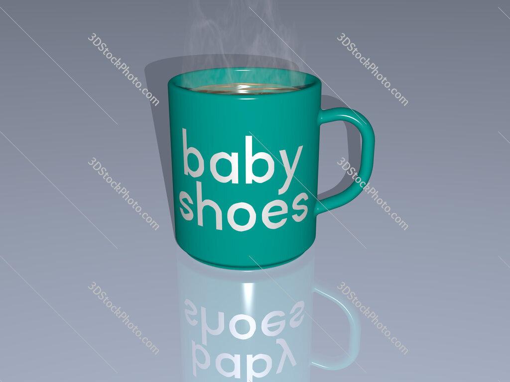 baby shoes text on a coffee mug