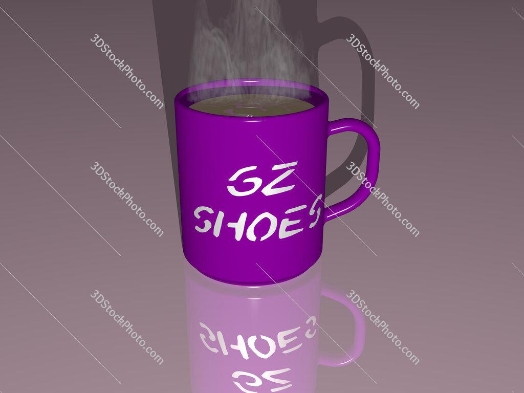 gz shoes text on a coffee mug