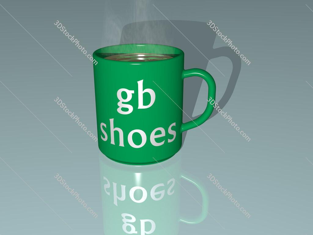 gb shoes text on a coffee mug