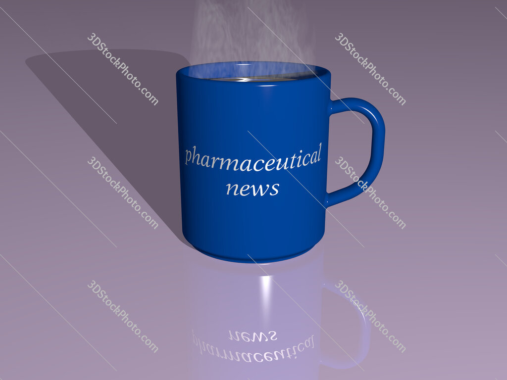 pharmaceutical news text on a coffee mug