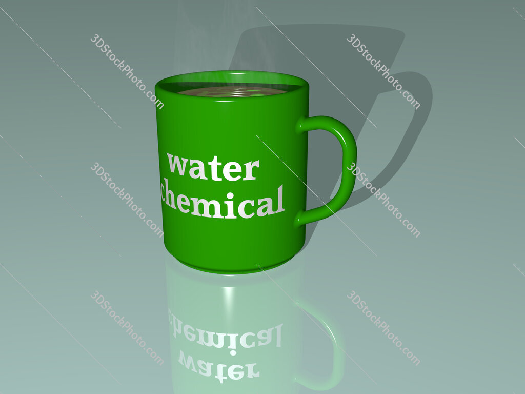 water chemical text on a coffee mug