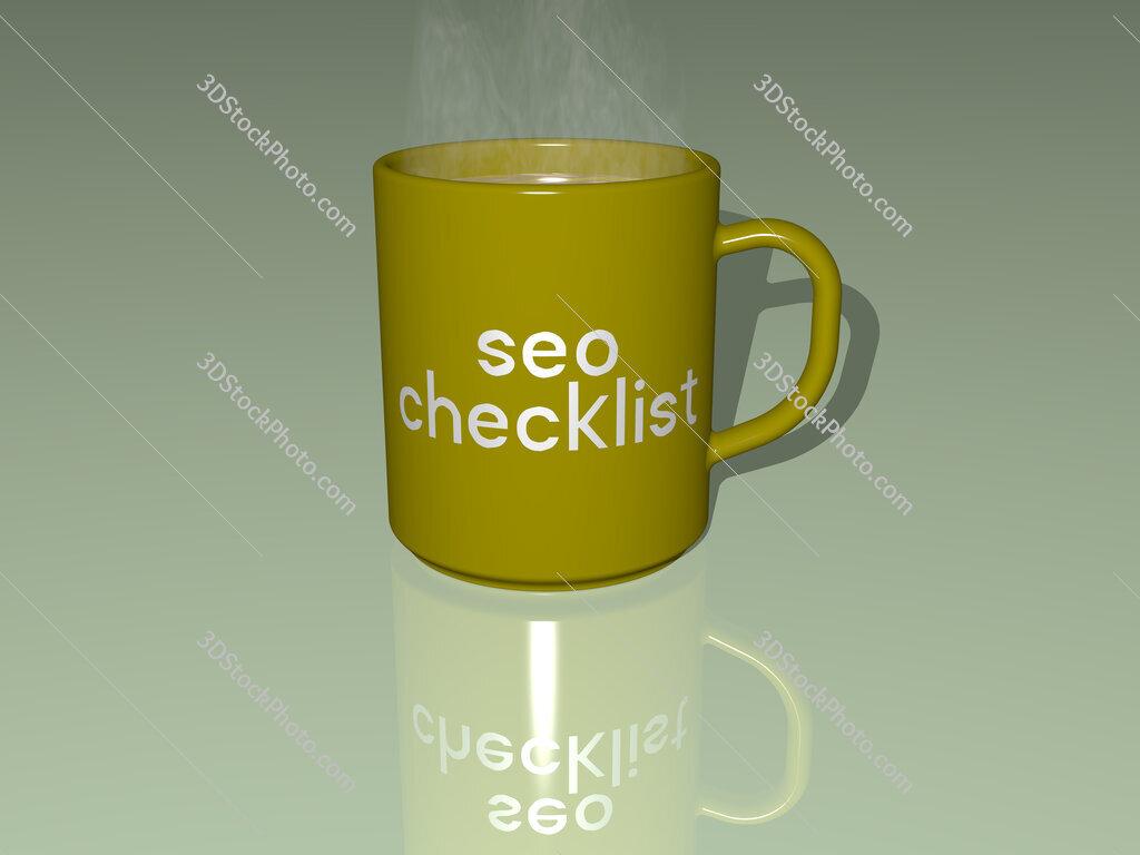 seo checklist text on a coffee mug