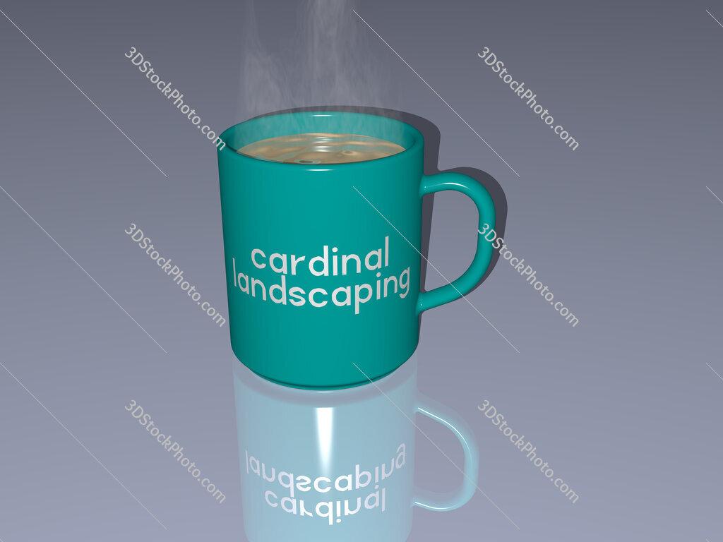 cardinal landscaping text on a coffee mug
