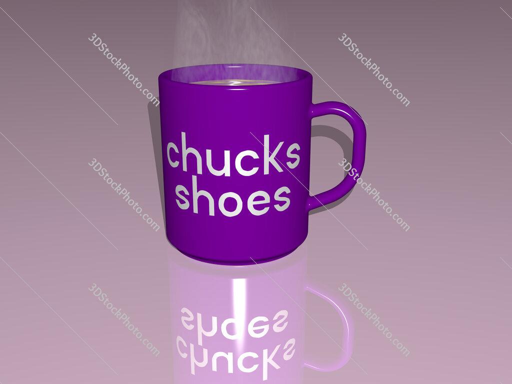 chucks shoes text on a coffee mug