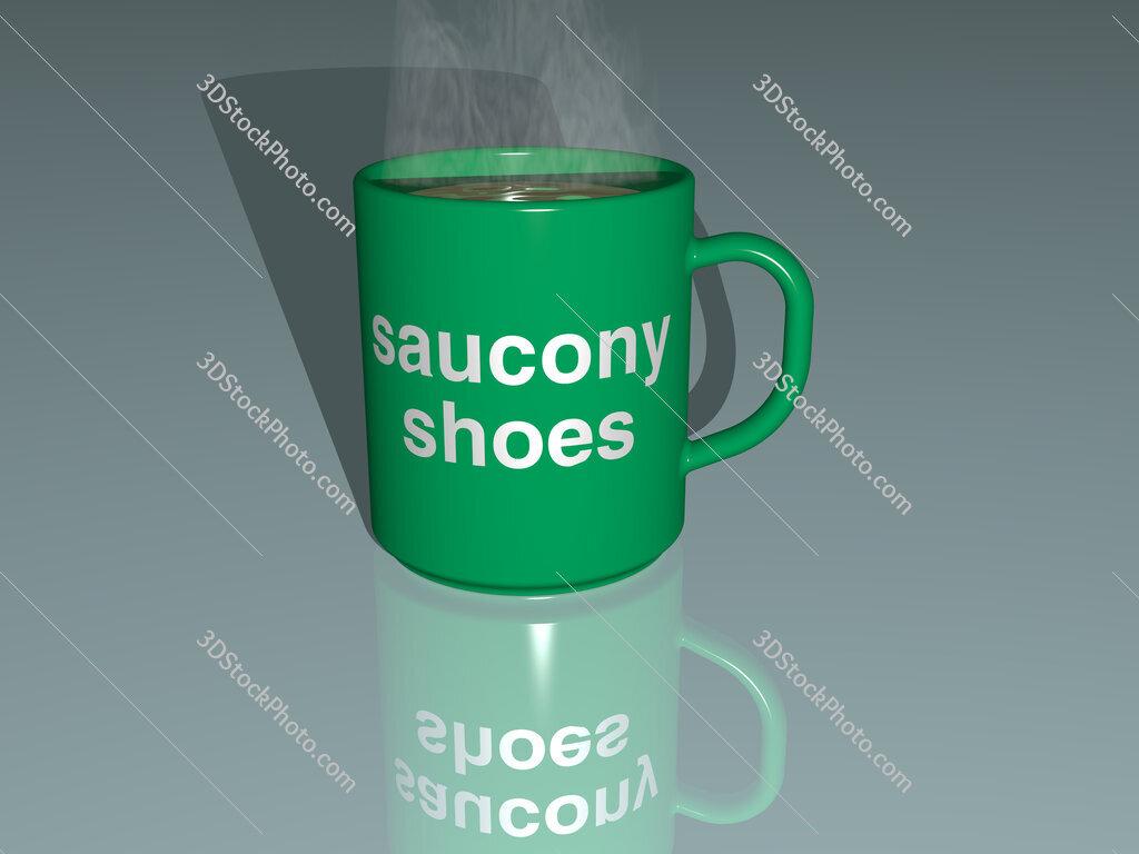 saucony shoes text on a coffee mug