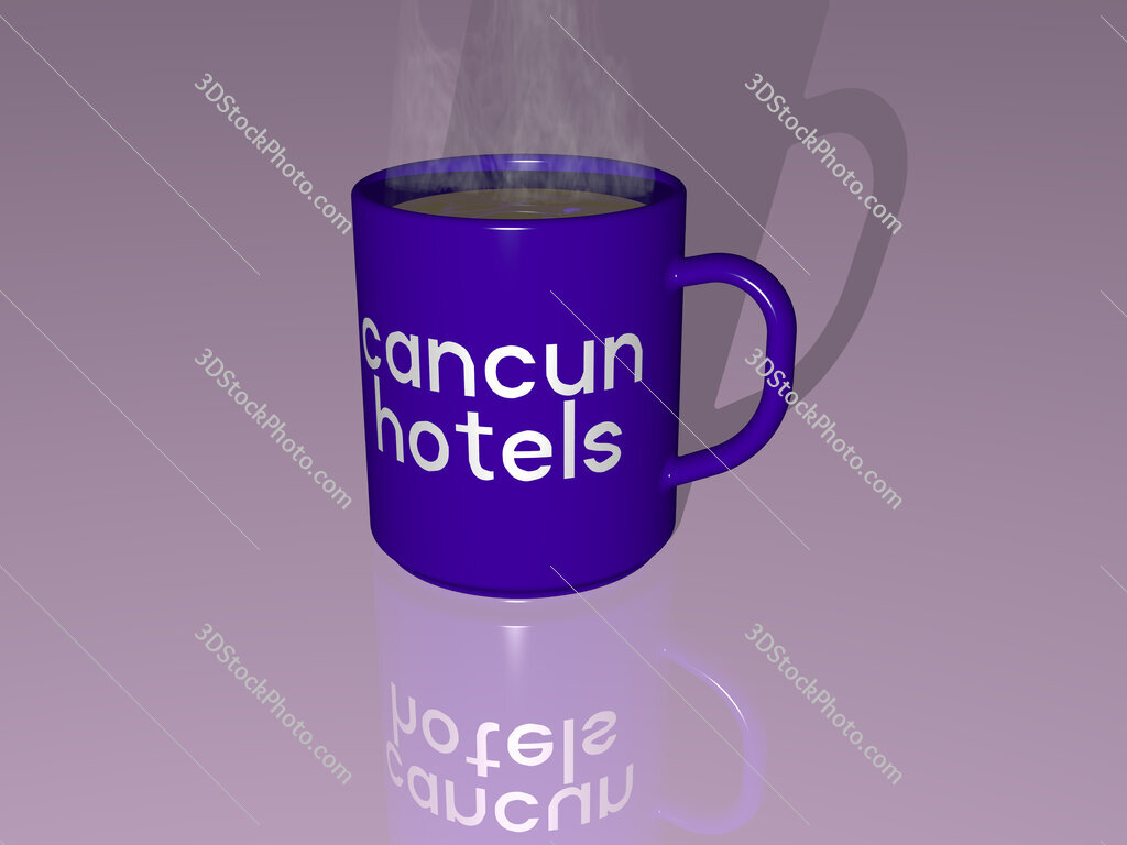 cancun hotels text on a coffee mug