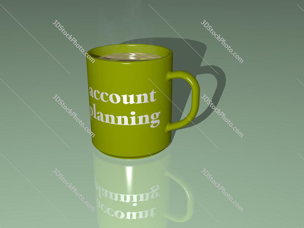 account planning text on a coffee mug