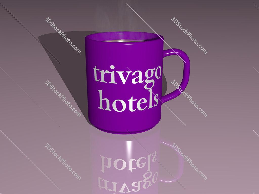 trivago hotels text on a coffee mug