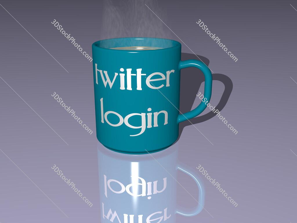 twitter login text on a coffee mug