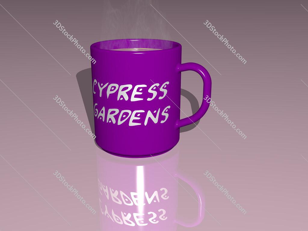 cypress gardens text on a coffee mug