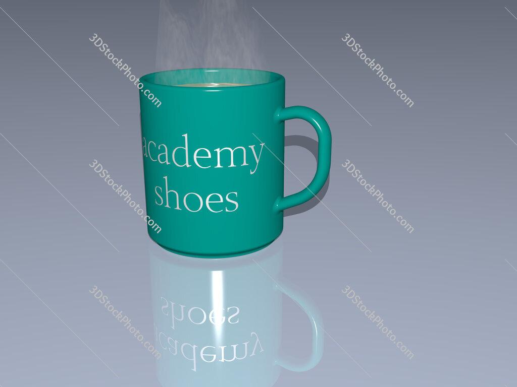 academy shoes text on a coffee mug