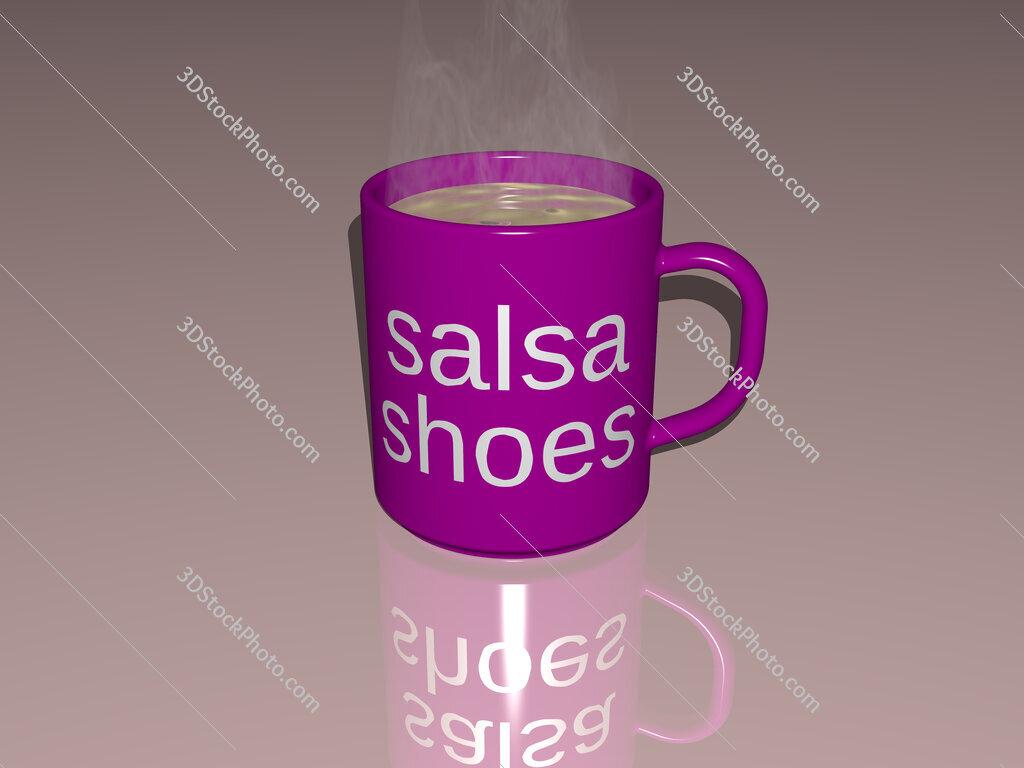 salsa shoes text on a coffee mug