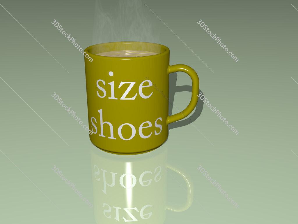 size shoes text on a coffee mug